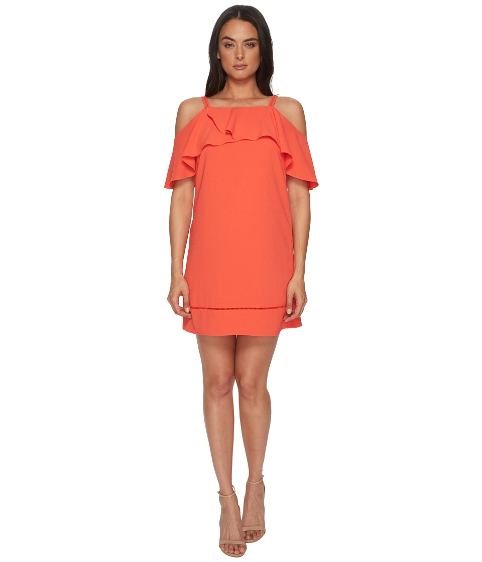 Maggy London - 30s Crepe Cold Shoulder Shift Dress (Coral) Womens Dress