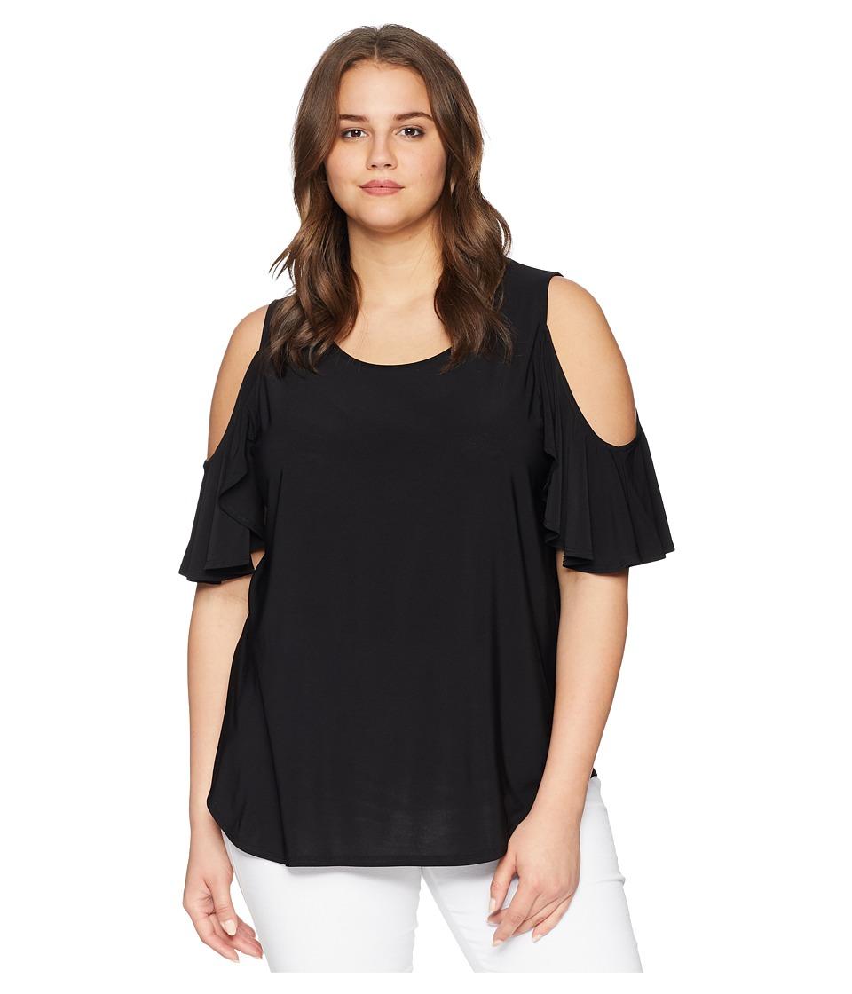 Karen Kane Plus - Plus Size Cold Shoulder Ruffle Top (Black) Womens Clothing