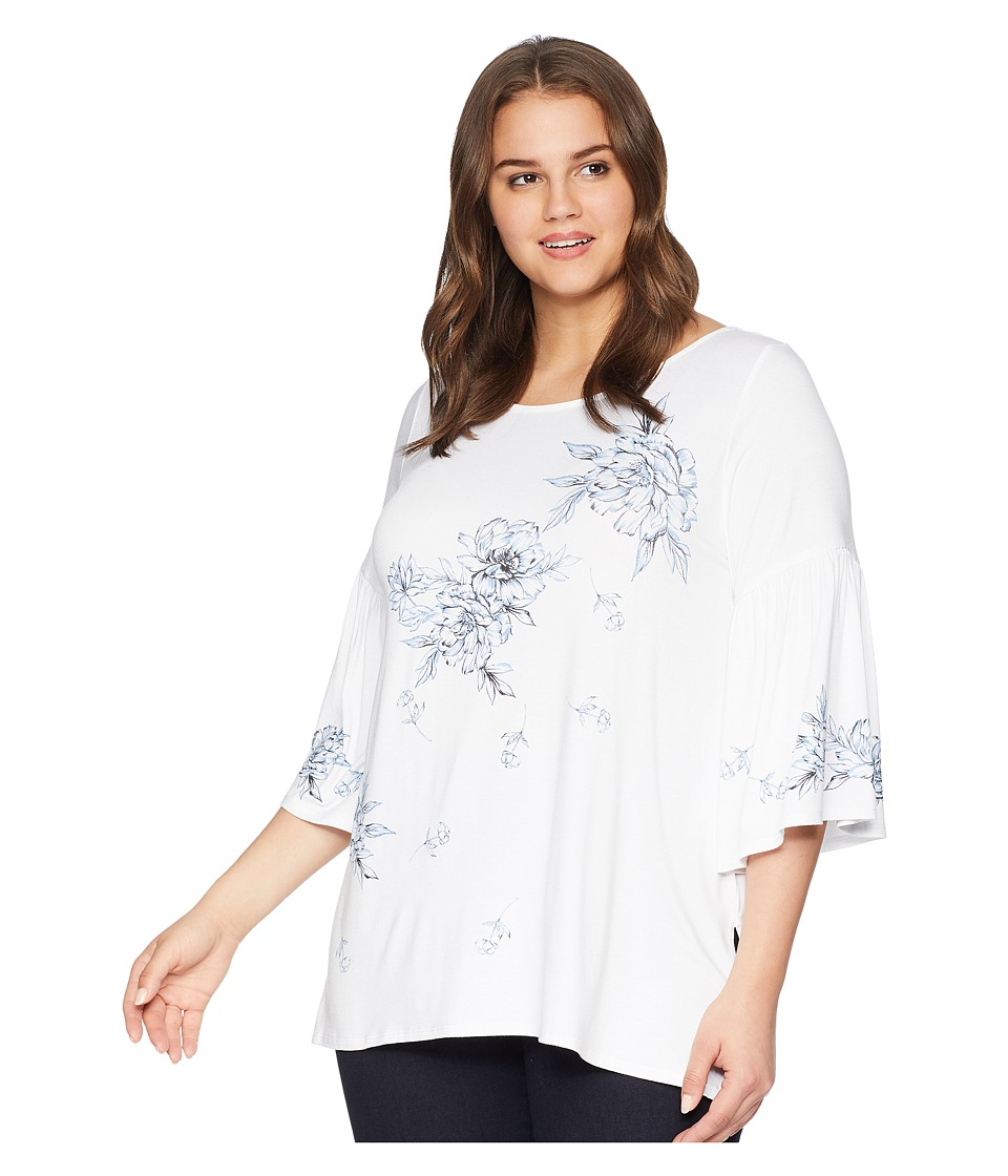 Karen Kane Plus - Plus Size Print Bell Sleeve Top (Off-White) Womens Clothing