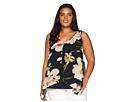 Karen Kane Plus Plus Size Sheer Floral Overlay Top