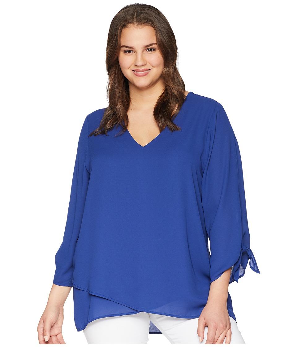 Karen Kane Plus - Plus Size Crossover Tie Sleeve Top (Iris) Womens Clothing