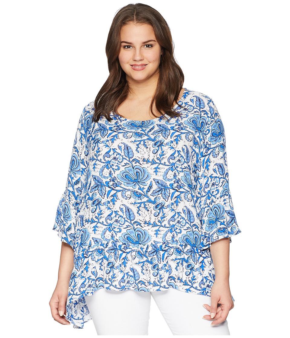 Karen Kane Plus - Plus Size Ruffle Hem Top (Print) Womens Clothing