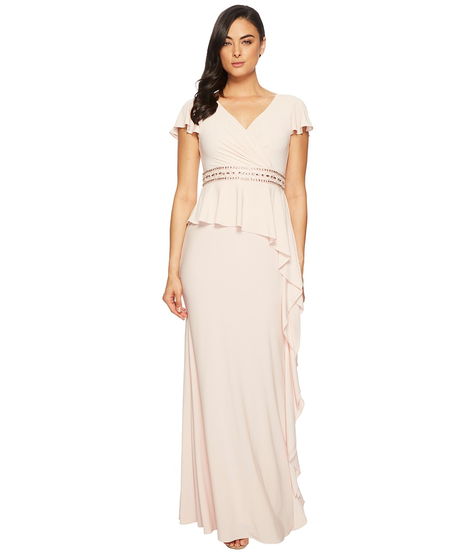 Adrianna Papell Short Sleeve Draped Jersey Gown with Bead...