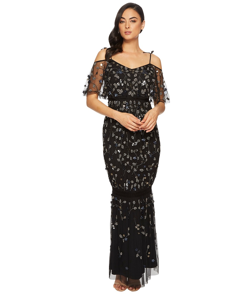 Adrianna Papell Long 3D Beaded Boho Gown with Tie Shoulde...
