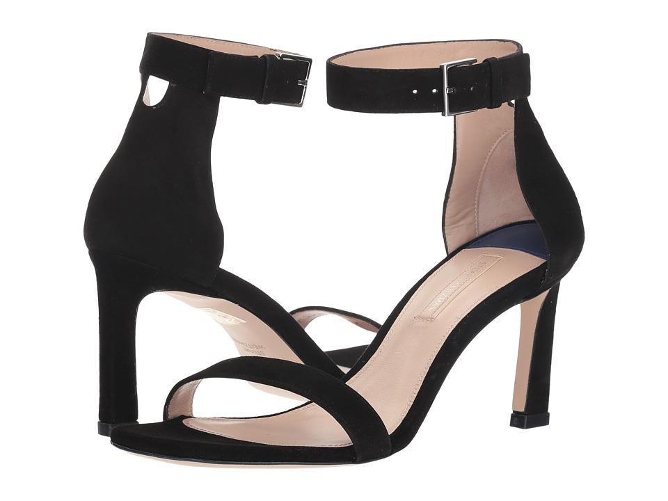 Stuart Weitzman 75 Square Nudist (Black Suede) Women's Shoes