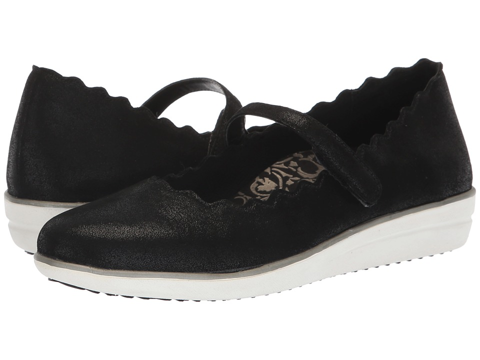 Aetrex June (Black Leather) Slip-On Shoes