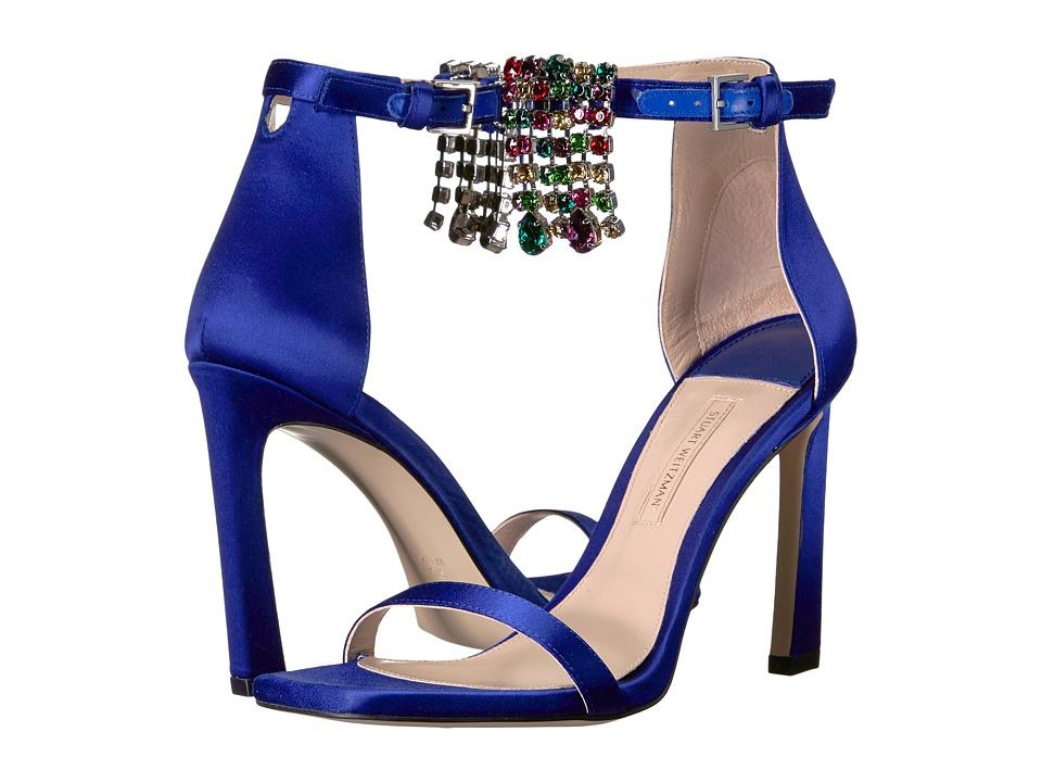 Stuart Weitzman 100fringsquarenudist (Blue Violet Silk Satin) Women's Shoes