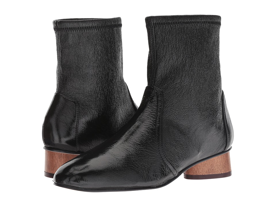 Stuart Weitzman Quebec (Black Gleaming Tripon) Women's Slip-on Dress Shoes