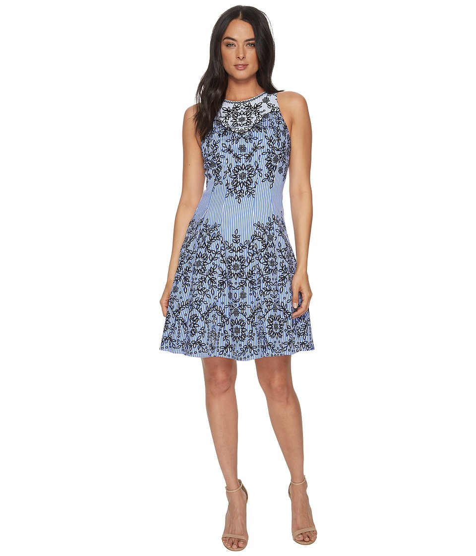 Maggy London - Trailing Vine Cotton Sateen Fit Flare (Blue/Navy) Womens Dress