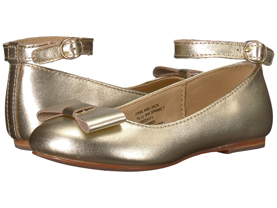 Janie and Jack - Metallic Ankle Strap Ballet Flat (Toddler/Little Kid/Big Kid) (Metallic Gold) Girls Shoes