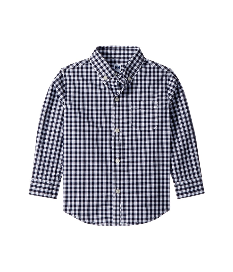 Janie and Jack - Long Sleeve Button Down Shirt (Toddler/Little Kids/Big Kids) (Navy Gingham) Boys Long Sleeve Button Up