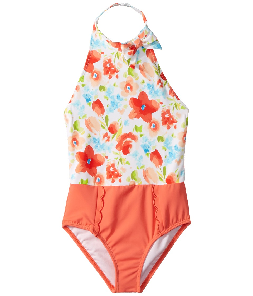 Janie and Jack - Floral Color Block One-Piece Swimsuit (Toddler/Little Kids/Big Kids) (Candy Red Floral) Girls Swimsuits One Piece