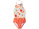 Janie and Jack Floral Color Block One-Piece Swimsuit (Toddler/Little Kids/Big Kids)