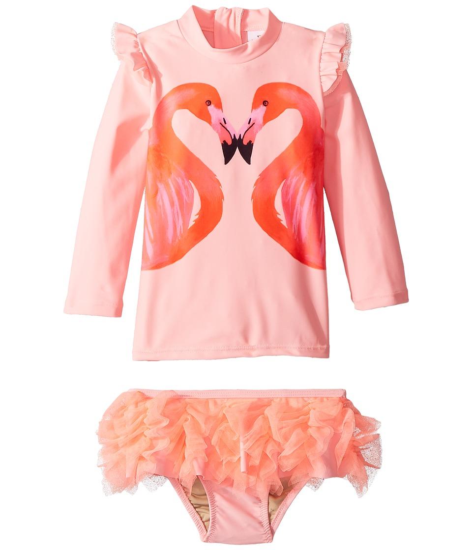 shade critters - Flamingo A Go-Go Rashguard Set (Infant/Toddler) (Pink) Girls Swimwear Sets