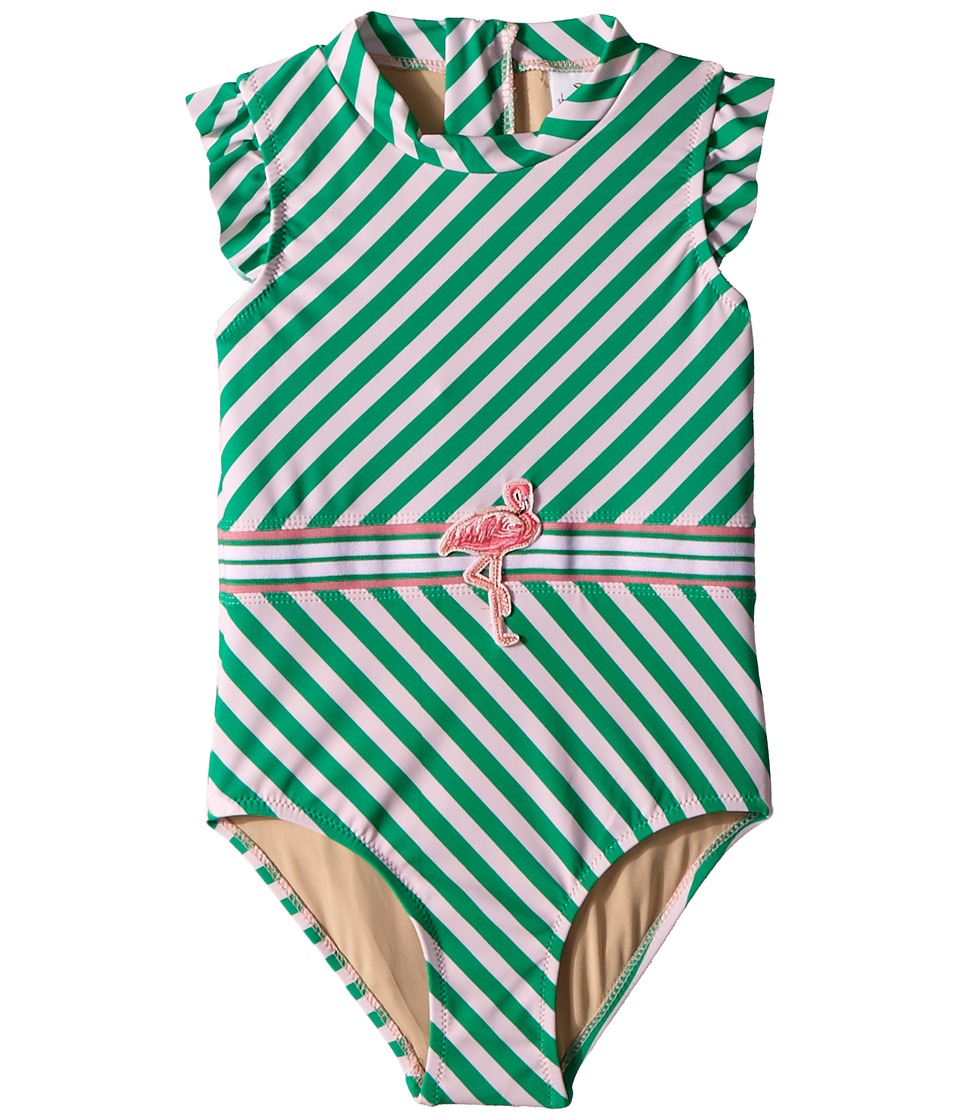 shade critters - Fashion Flamingo Belt One-Piece (Toddler) (Green) Girls Swimsuits One Piece