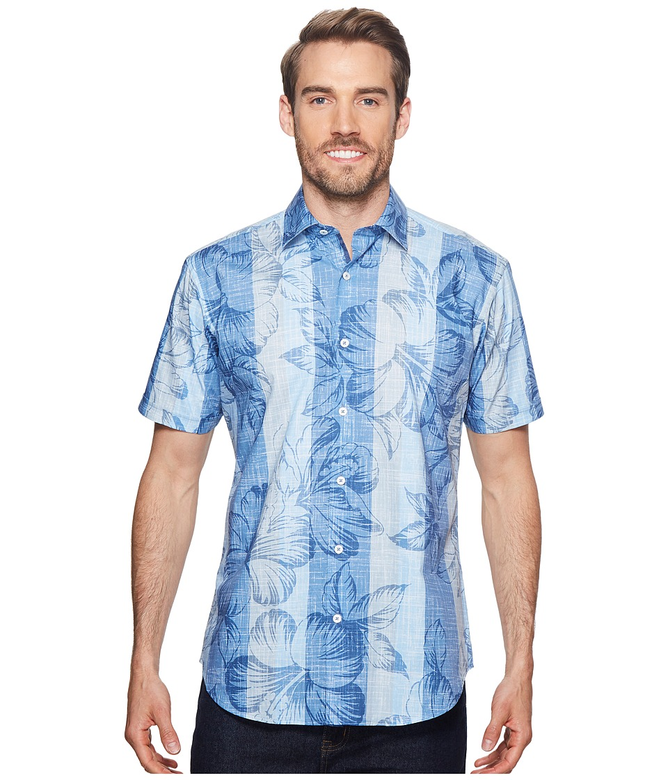 BUGATCHI - Shaped Fit Short Sleeve Woven Shirt (Air Blue) Mens Short Sleeve Button Up