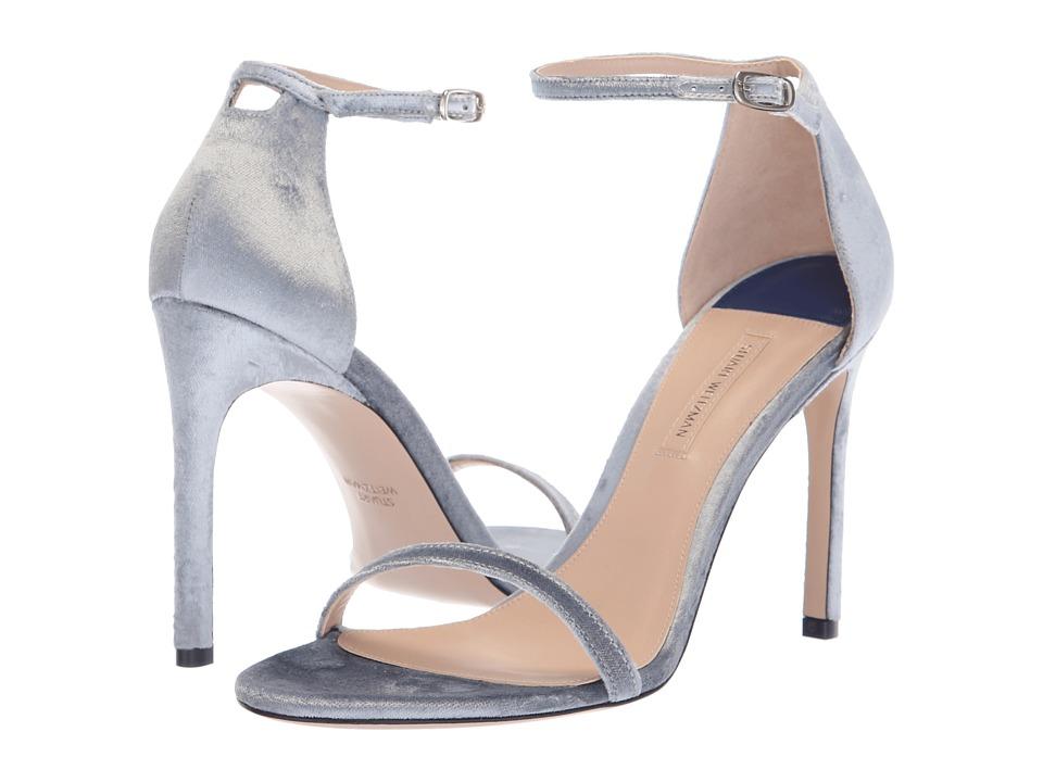 Stuart Weitzman Nudistsong (Platinum Velveteen) Women's Shoes