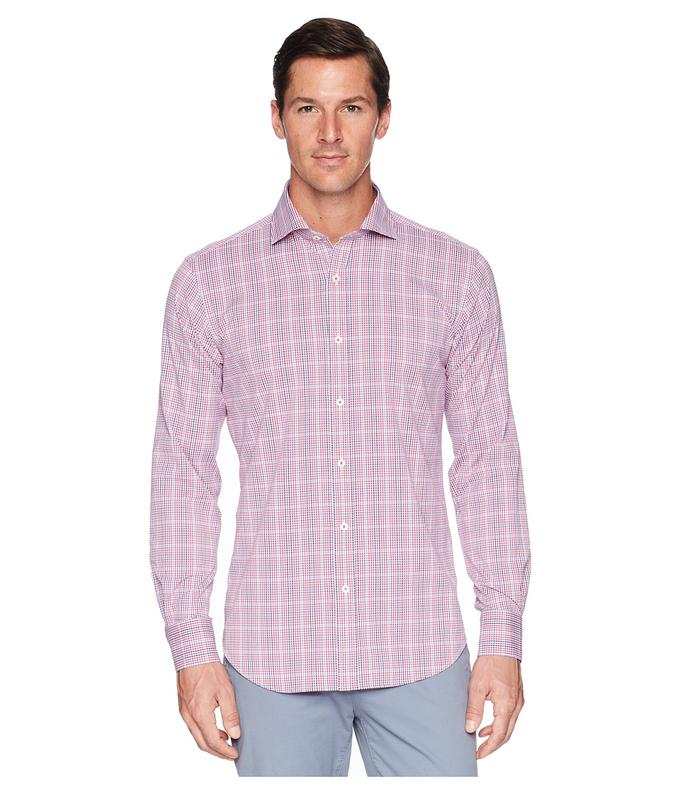 BUGATCHI - Shaped Fit Long Sleeve Plaid Woven Shirt (Berry) Mens Clothing