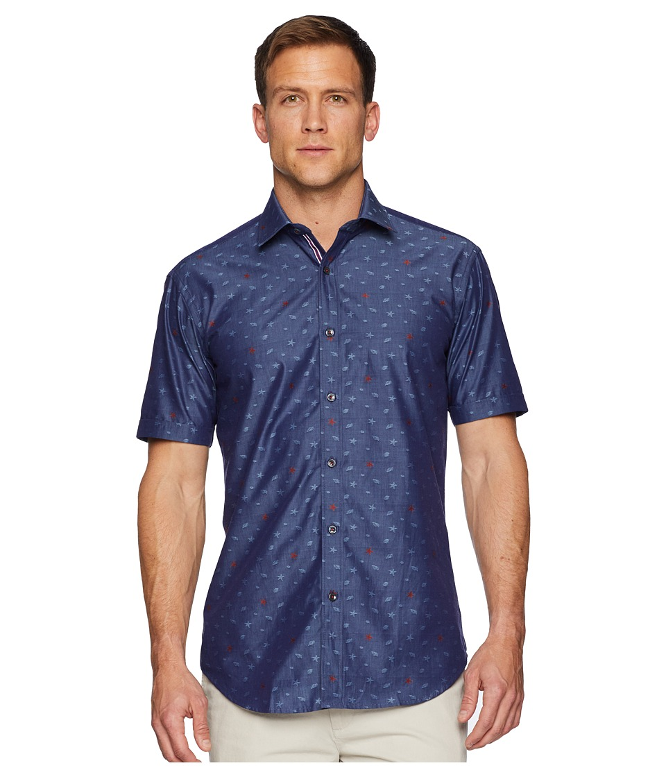 BUGATCHI - Shaped Fit Shark Woven Shirt (Indigo) Mens Clothing