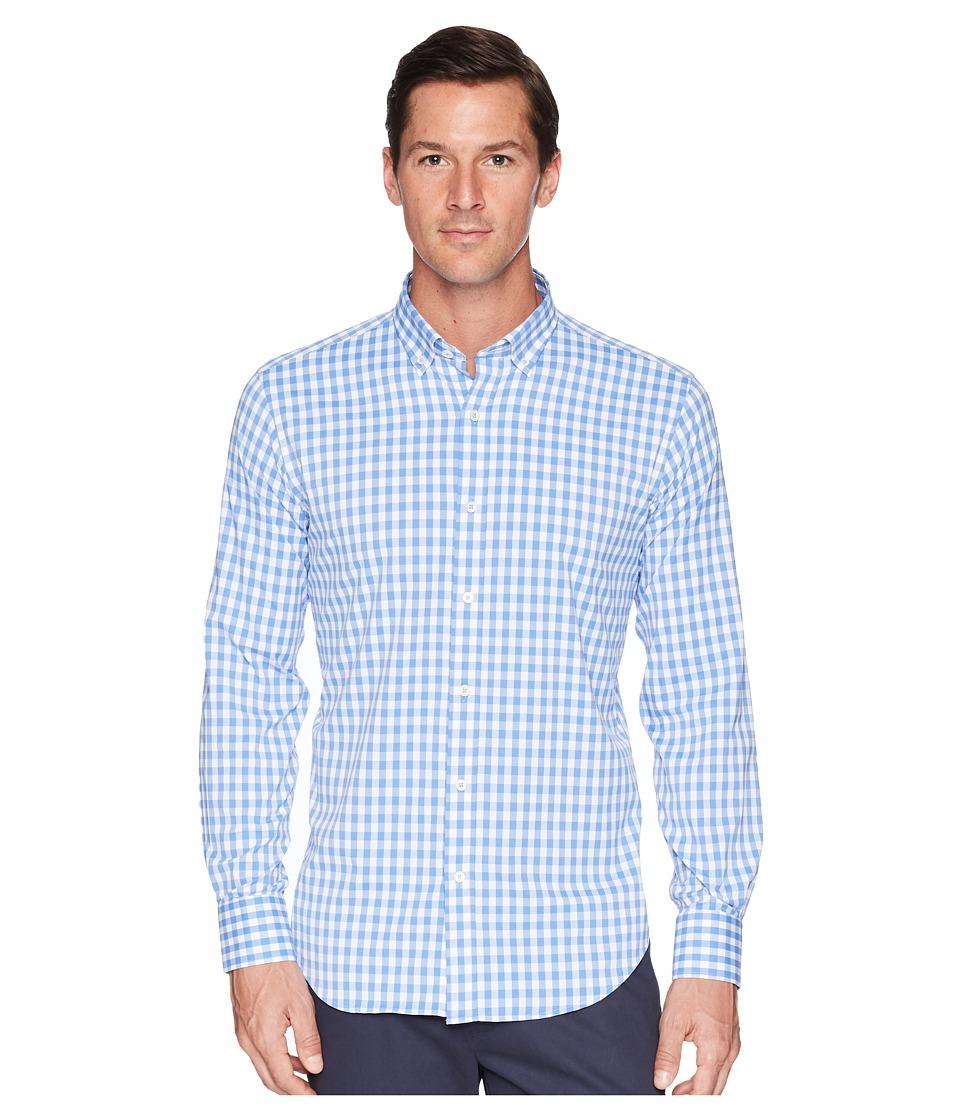 BUGATCHI - Shaped Fit Gingham Plaid Woven Shirt (Classic Blue) Mens Clothing
