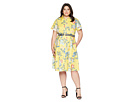Donna Morgan Plus Size Floral Cotton Polin Shirtdress