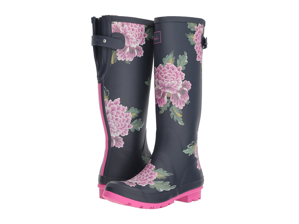 Joules Tall Welly Print (Navy Chinoise) Women's Rain Boots