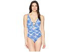 LAUREN Ralph Lauren LAUREN Ralph Lauren Aegean Tile Loop Front Over the Shoulder One-Piece