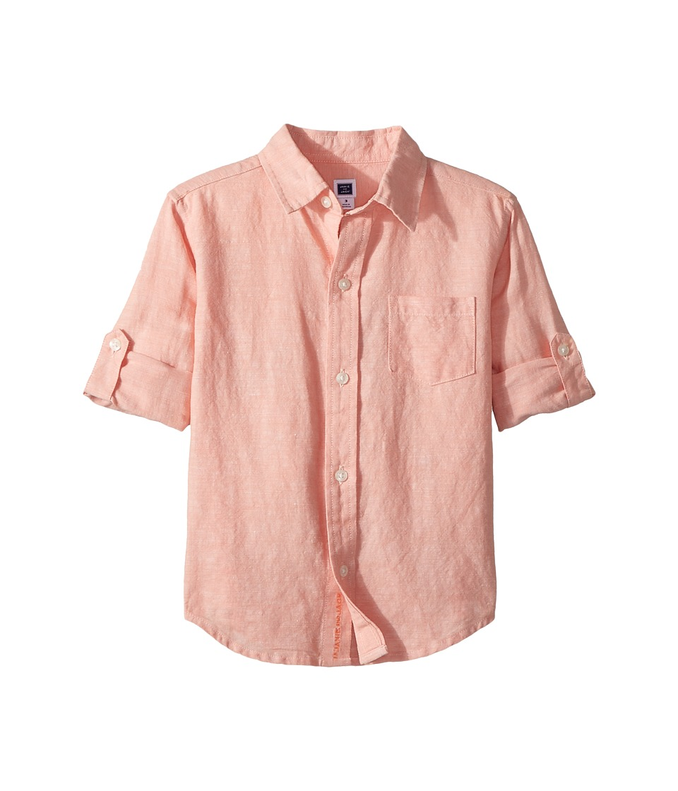 Janie and Jack - Roll Sleeve Button-Up Shirt (Toddler/Little Kids/Big Kids) (Peach Pink) Boys Long Sleeve Button Up