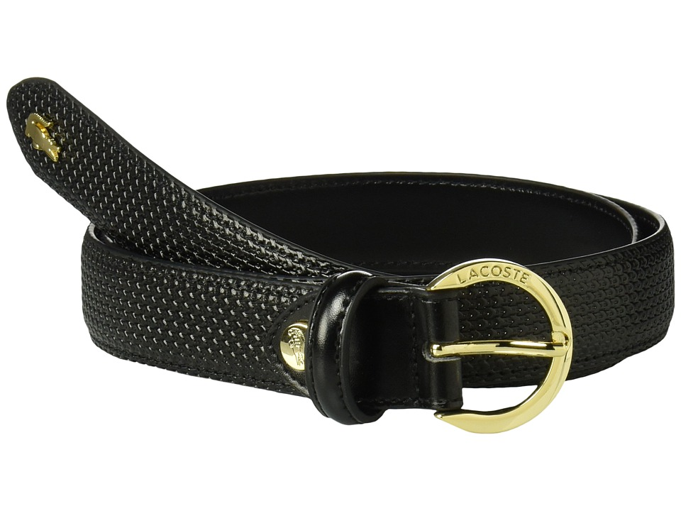 Lacoste - Chantaco Leather Belt (Black) Womens Belts