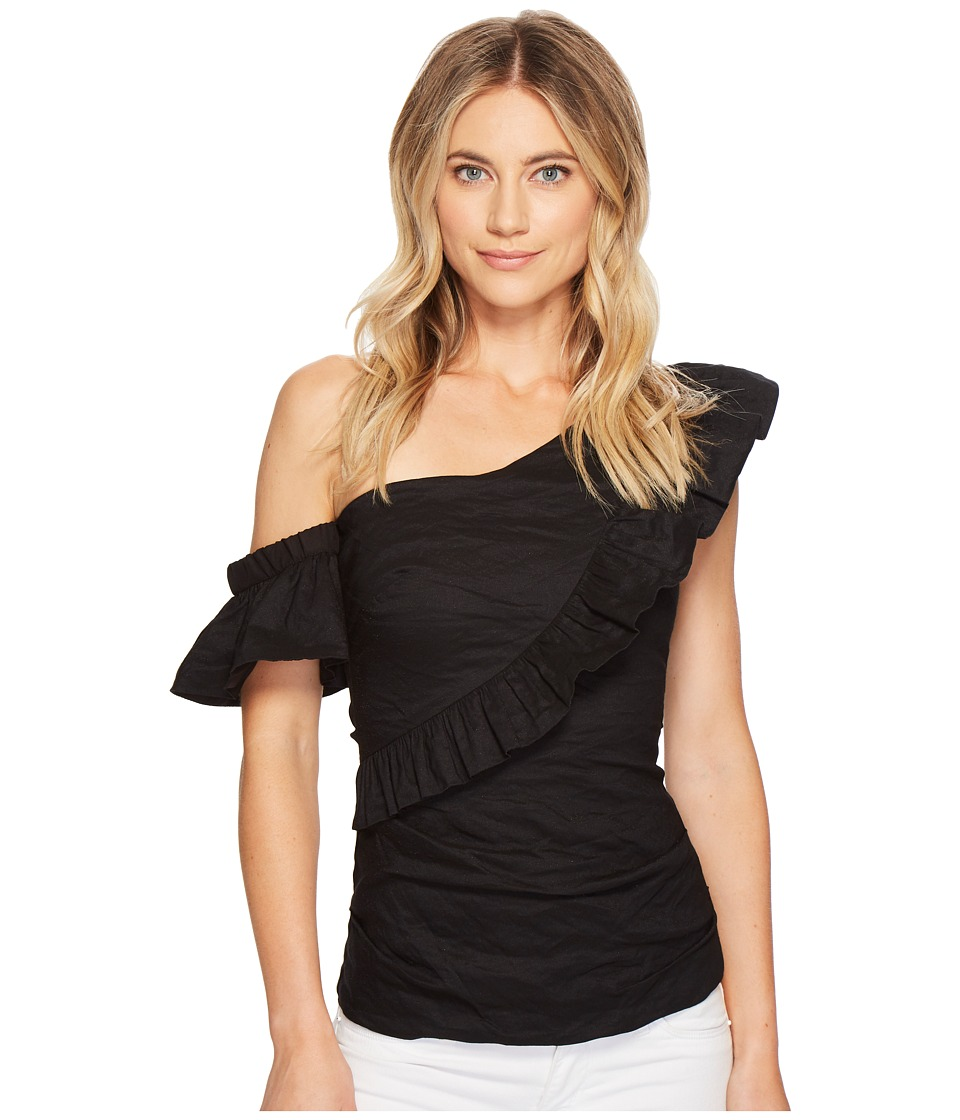 Nicole Miller - Ruffle Top (Black) Womens Clothing