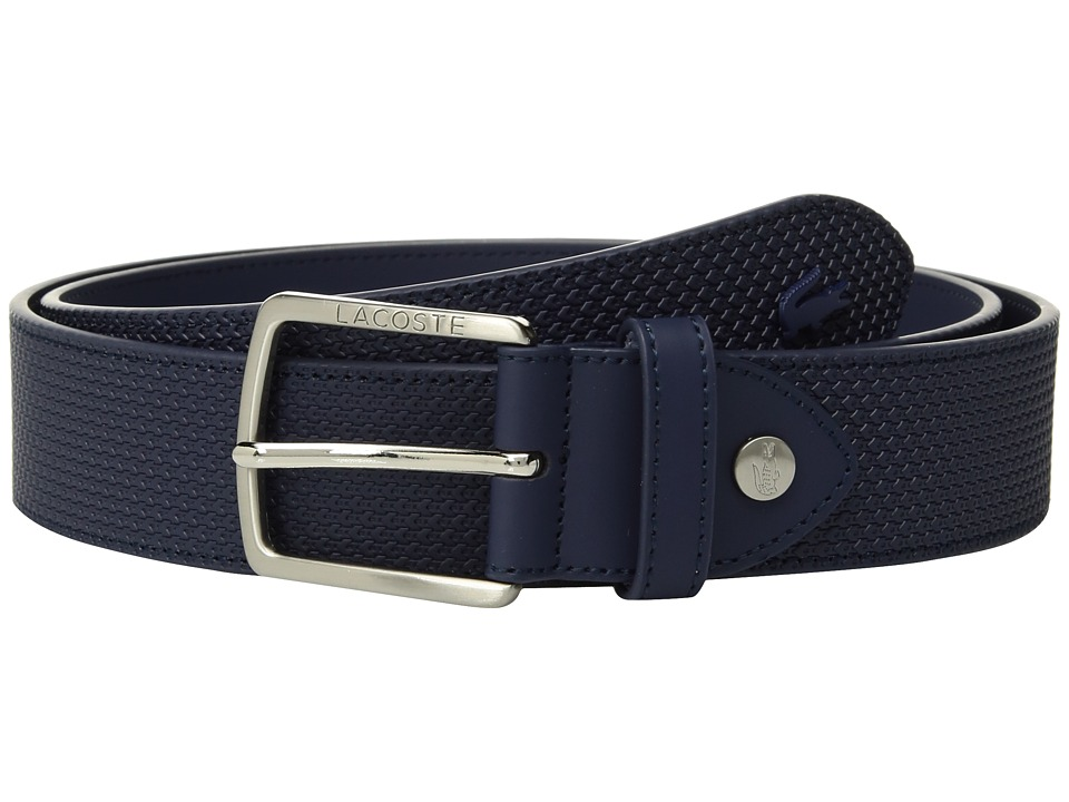 Lacoste - Chantaco Leather Belt (Peacoat) Mens Belts