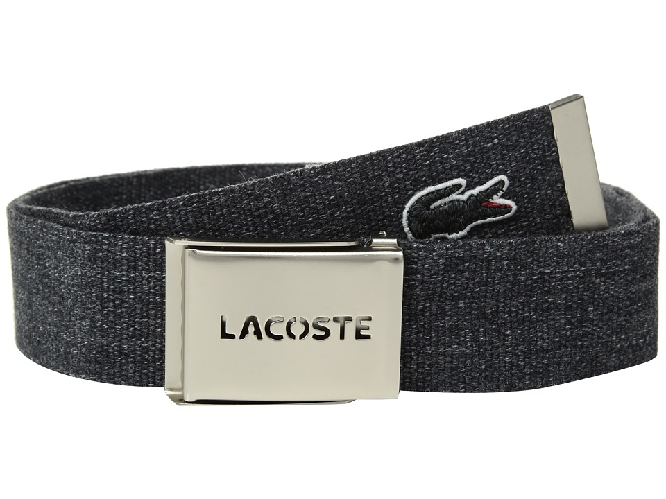 Lacoste - Classic L.12.12 Woven Strap Belt (Black) Mens Belts