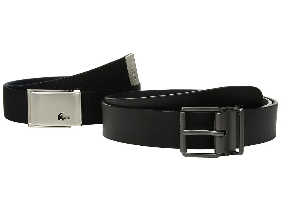 Lacoste - Dual Buckle Belt (Black/Navy) Mens Belts