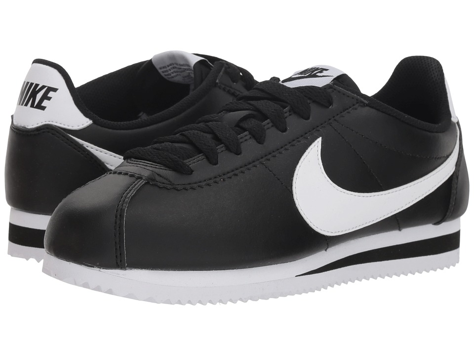 Nike Classic Cortez Leather (Black/White/White) Women's Shoes