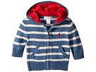 Ralph Lauren Baby Ralph Lauren Baby Striped Cotton Full Zip Hoodie (Infant)