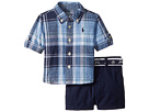 Ralph Lauren Baby Linen Plaid Shirt Shorts Set (Infant)