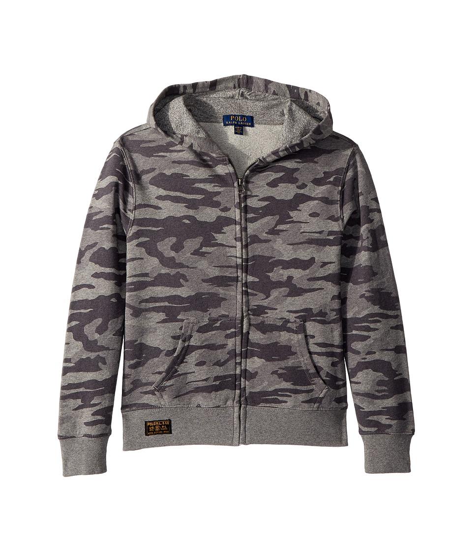 Polo Ralph Lauren Kids - Camo Print Cotton Hoodie (Big Kids) (Grey Camo) Boys Sweatshirt