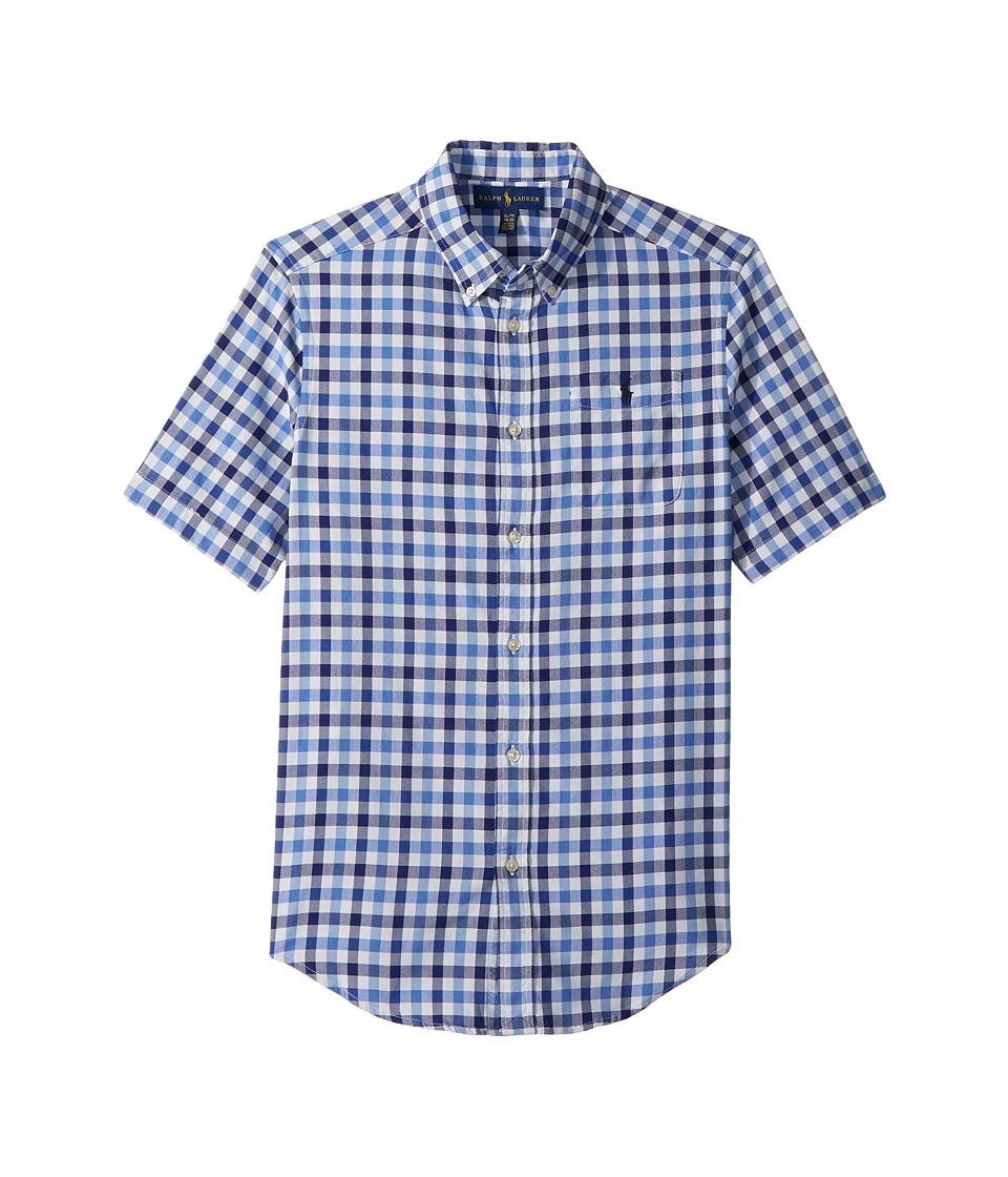 Polo Ralph Lauren Kids - Plaid Performance Oxford Shirt (Big Kids) (Blue Multi) Boys Clothing
