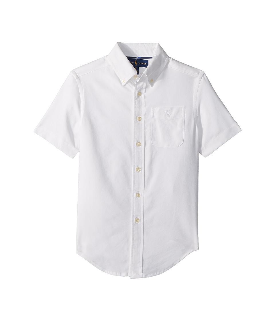 Polo Ralph Lauren Kids - Performance Oxford Shirt (Big Kids) (White) Boys Clothing