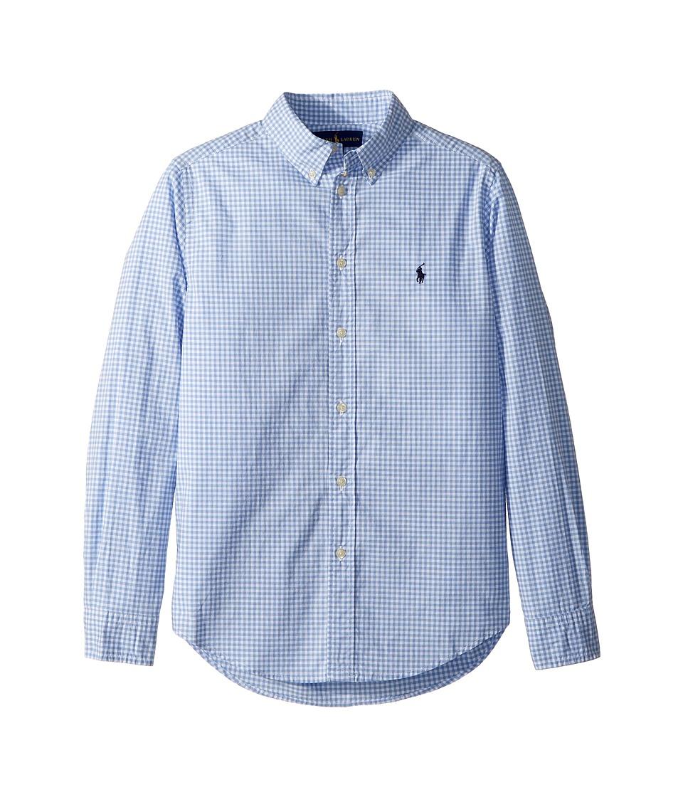 Polo Ralph Lauren Kids - Gingham Stretch Cotton Shirt (Big Kids) (Light Blue Multi) Boys Clothing