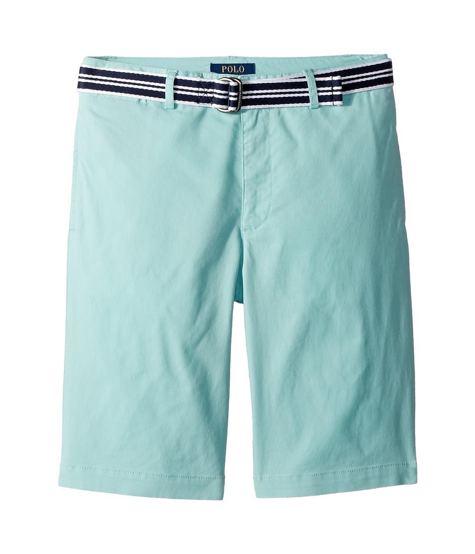 Polo Ralph Lauren Kids - Slim Fit Belted Stretch Shorts (Big Kids) (Parakeet) Boys Shorts
