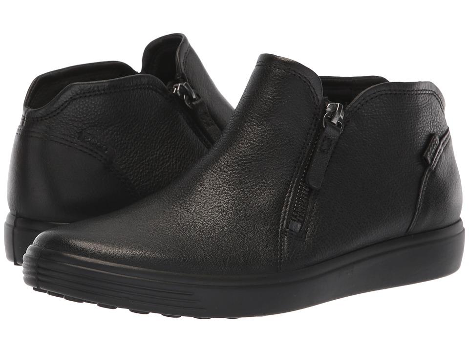 ECCO Soft 7 Low Cut Zip Bootie (Black Cow Leather) Women's Shoes