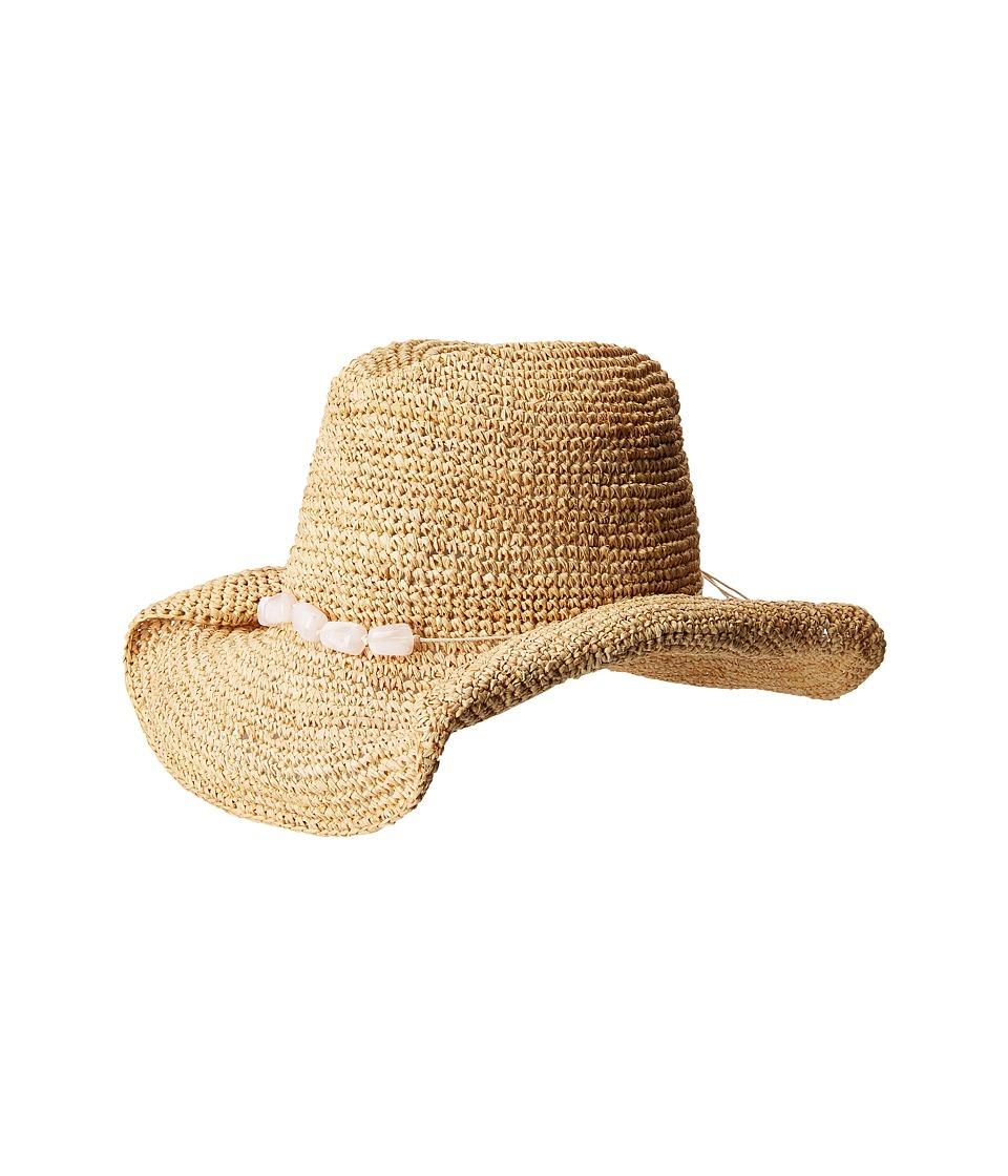 San Diego Hat Company - RHC1074 Crochet Raffia Cowboy w/ Turqoise Bead Trim (Pink) Traditional Hats