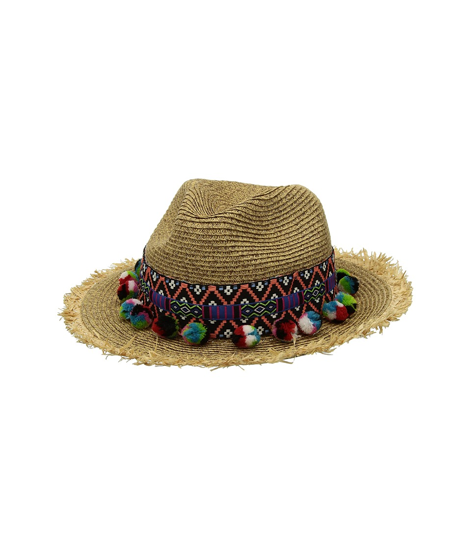 San Diego Hat Company - UBF1111 Fedora with Multicolor Pom (Natural) Fedora Hats