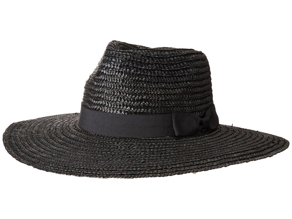 San Diego Hat Company - WSH1107 Pinched Crown Wheat Straw Sun Brim (Black) Caps