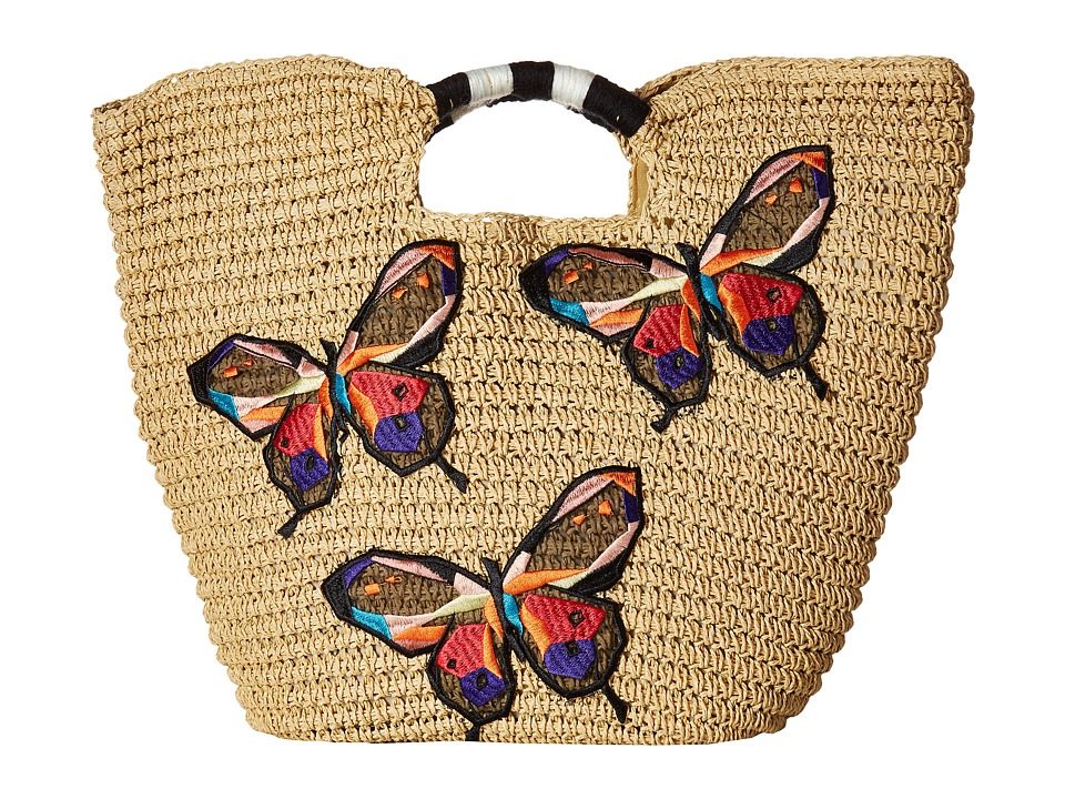 San Diego Hat Company - BSB1728 Paper Tote with Butterfly Embroidery (Natural) Tote Handbags