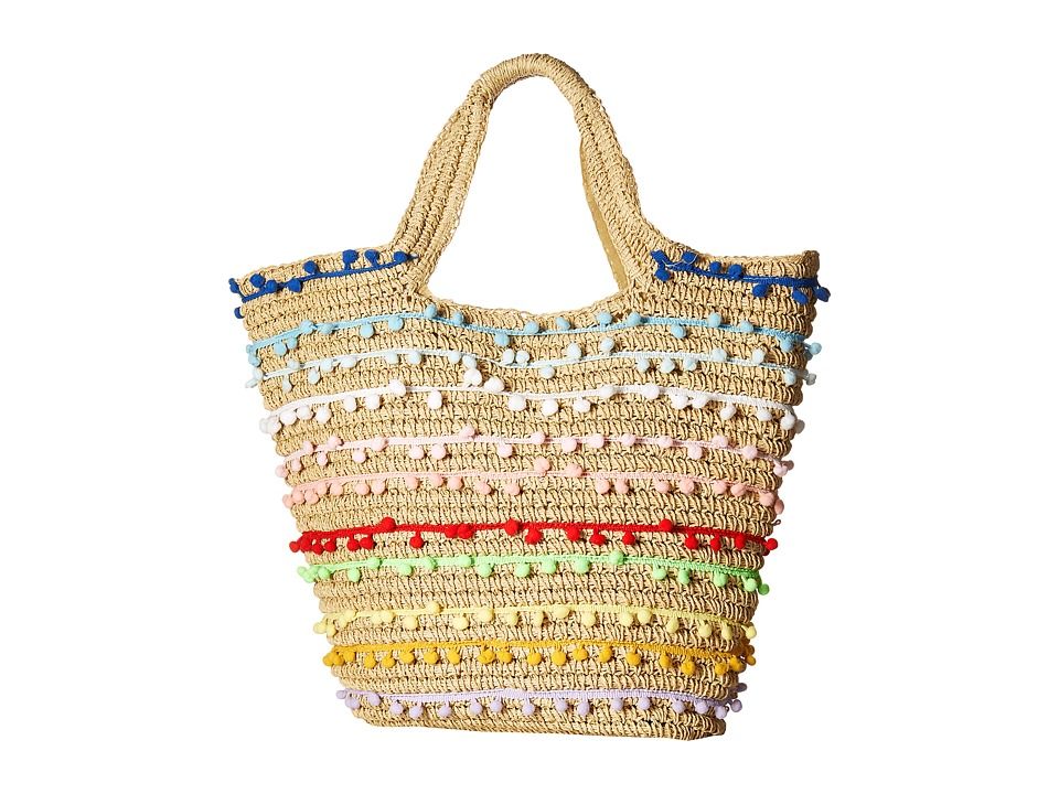 San Diego Hat Company - BSB1725 Paper Tote with All Over Baby Poms (Multi) Tote Handbags