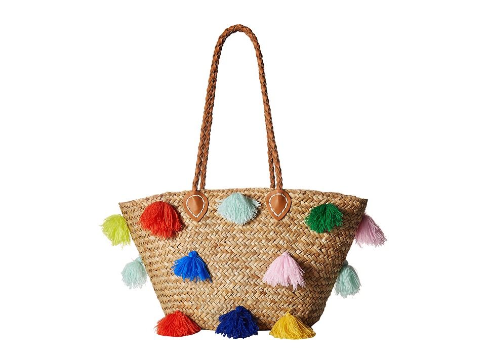 San Diego Hat Company - BSB1566 Seagrass Tote with Multicolored Poms and Pleather Handle (Natural) Tote Handbags
