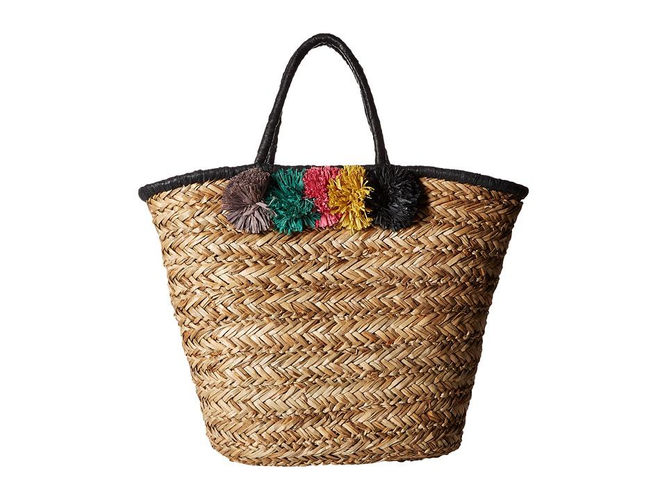San Diego Hat Company - BSB1714 Pom Seagrass Tote (Natural) Tote Handbags