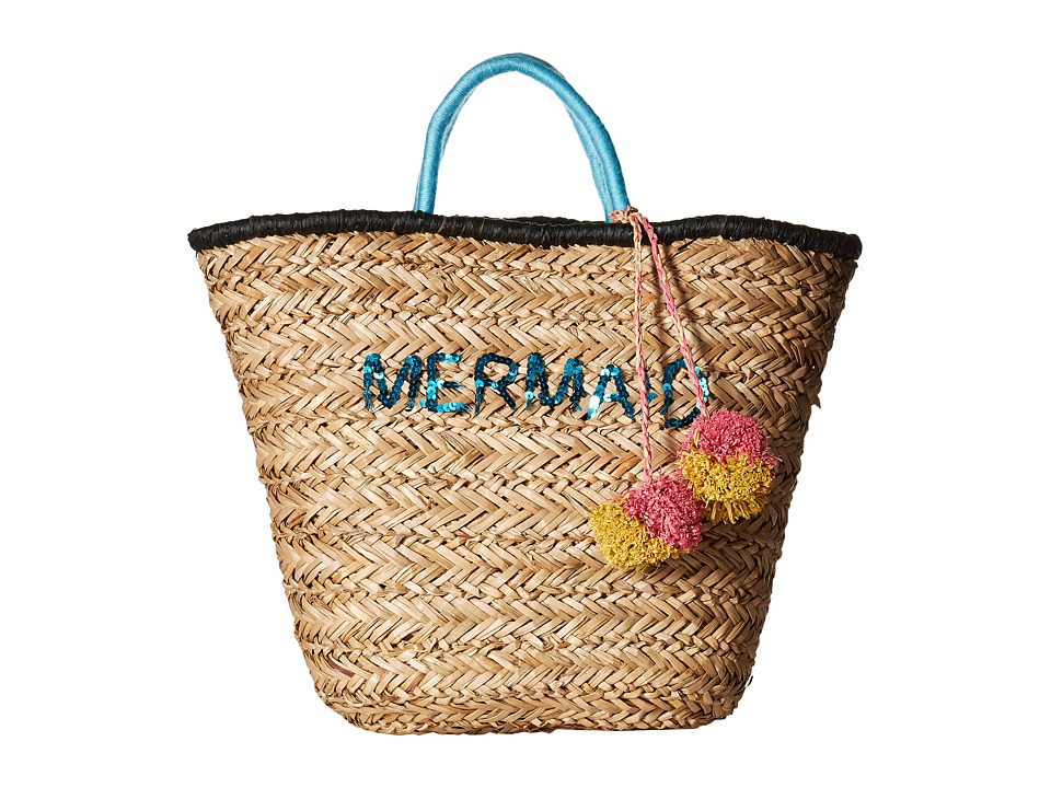 San Diego Hat Company - BSB1729 Seagrass Tote with Mermaid Embroidery with Pom (Natural) Tote Handbags